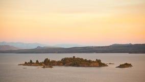 Piękny zmierzch w jeziornej ` s wyspie w Patagonia, Argentyna zdjęcie royalty free