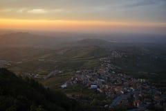 Piękny zmierzch w Włoskim Tuscany Zdjęcia Stock