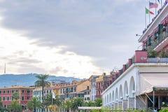 Piękny zmierzchu widok budynki i niebo Santa Margherita Ligure zdjęcia royalty free