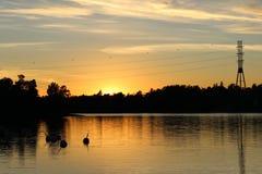 Piękny zmierzchu widok Humallahti w Töölö, Helsinki, Finla zdjęcie royalty free