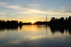 Piękny zmierzchu widok Humallahti w Töölö, Helsinki, Finla zdjęcie stock
