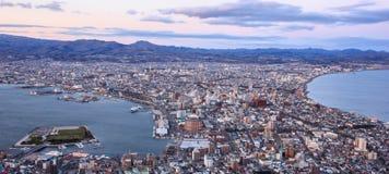 Piękny zmierzchu widok od Mt Hakodate, Hakodate miasta z, Hakodate, Hokk zdjęcie stock