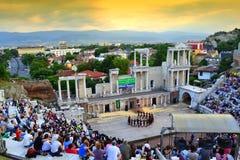 Piękny zmierzchu widok Plovdiv Amphitheter obraz stock