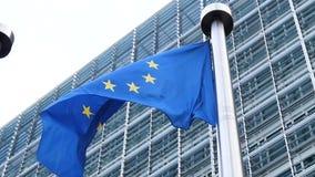Piękny zwolnione tempo macha E europejską Zrzeszeniową flaga. - zbiory