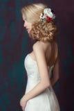 pięknych ślicznych fryzury kędziorków wzorcowy portreta profilu ślub zdjęcie royalty free
