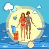Pięknych dziewczyn bikini plażowy wakacje ilustracja wektor