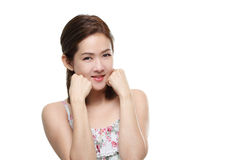 Pięknych kobiet azjatykci szczęśliwy uśmiechający się z dobry zdrowym skóra twój twarz odizolowywającą Obrazy Stock