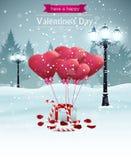 Pięknych walentynka dnia karty szerokości latarni ulicznych kształta kierowych balonów płatków różany cukierek Zdjęcia Royalty Free