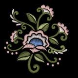 Pięknych wildflowers hafciarski projekt dla neckline Akcyjny wektor ilustracja wektor