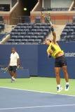 Piętnaście czasów wielkiego szlema mistrz Rafael Nadal Hiszpania z jego powozowym Tony Nadal ćwiczy dla us open 2017 Zdjęcie Stock