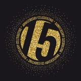 Piętnaście rok rocznicowego świętowania złotego logotypu 15th rocznicowy złocisty logo Obraz Royalty Free
