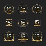 Piętnaście rok rocznicowego świętowanie logotypu 15th rocznicowa logo kolekcja Obrazy Stock