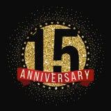 Piętnaście rok rocznicowego świętowanie logotypu 15th rocznicowy logo Royalty Ilustracja