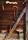 piła sierp ściany drewna Obrazy Royalty Free