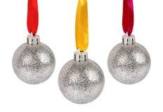 piłek boże narodzenia odizolowywający faborków srebro Obraz Royalty Free