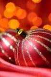 piłek bożych narodzeń czerwieni jedwab Zdjęcia Stock