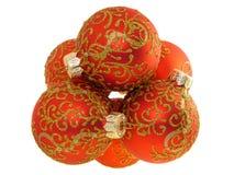 piłek bożych narodzeń dekoraci odosobniona czerwień Zdjęcie Stock