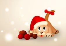 piłek bożych narodzeń kapeluszowa szczeniaka czerwień s Santa Ilustracji