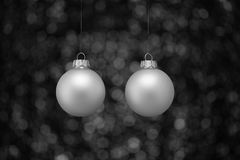 piłek bożych narodzeń srebro dwa Fotografia Stock