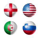 piłek c filiżanki flaga grupowy piłki nożnej świat ilustracji