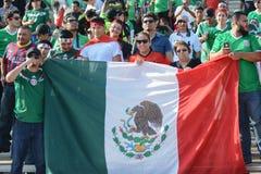Piłek nożnych fan trzyma Meksyk zaznaczają podczas Copa Ameryka Centenar Obrazy Royalty Free