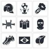 Piłek nożnych fan ultras ikony kolekcja ilustracji