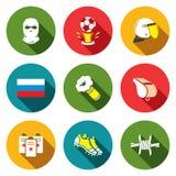 Piłek nożnych fan ultras ikony ustawiać royalty ilustracja