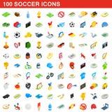 100 piłek nożnych ikon ustawiających, isometric 3d styl ilustracji