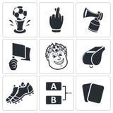 Piłek nożnych wektorowe ikony ustawiać ilustracja wektor