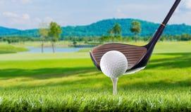 Piłka golfowa na trójników czopach w polu golfowym fotografia royalty free