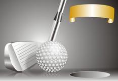 Piłka golfowa z kijem golfowym z z zwycięzca mapą Fotografia Stock