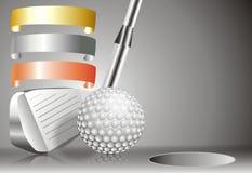 Piłka golfowa z kijem golfowym z z zwycięzca mapą Fotografia Royalty Free