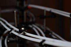 Piłka na poręczach w zmroku Fotografia Royalty Free