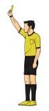 Piłka nożna arbiter Pokazuje żółtą kartkę Zdjęcie Stock