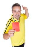 Piłka nożna arbiter pokazuje czerwoną kartkę zdjęcie royalty free