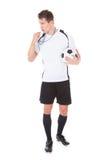 Piłka nożna arbitra mienia futbol zdjęcie royalty free