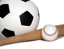 piłka nożna, baseball Zdjęcie Royalty Free