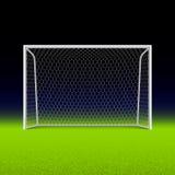Piłka nożna cel na czerni Fotografia Royalty Free
