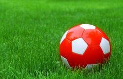 Piłka nożna futbol i zielona trawa Obraz Royalty Free
