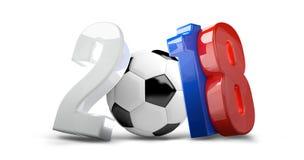 Piłka nożna futbol 2018 Russia 3d odpłaca się odosobniony Zdjęcia Stock