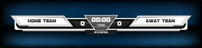 Piłka nożna futbol z tablicy wyników grafiką i światło reflektorów wektoru ilustracją Digital ekranu grafiki szablon royalty ilustracja