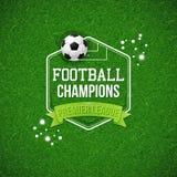 Piłka nożna futbolu plakat Piłki nożnej boiska piłkarskiego tło z ty Zdjęcia Stock