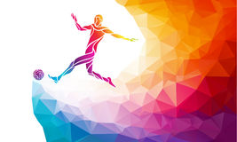 piłka nożna gracza Futbolista kopie piłkę w modnym abstrakcjonistycznym kolorowym wieloboka stylu z tęcza plecy Zdjęcie Stock
