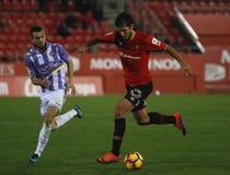 Piłka nożna gracze podczas futbolowego dopasowania między real valladolid i Istnym Mallorca w stadium syn Moix Zdjęcia Stock