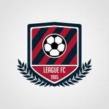 Piłka nożna i drużyny futbolowej odznaka z nowożytnym stylem royalty ilustracja