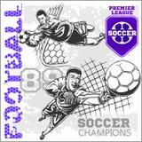Piłka nożna i gracze futbolu plus emblematy dla sporta Zdjęcia Royalty Free