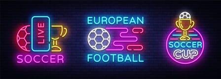 Piłka nożna inkasowi Neonowi znaki Wektorowi Futbol ustaleni logowie neonowi, projekta szablonu emblemat, online piłka nożna symb Zdjęcia Stock