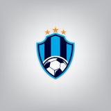 Piłka nożna loga projekta szablon, Futbolowa odznaki drużyny tożsamość, piłki nożnej koszulki Futbolowa grafika ilustracja wektor