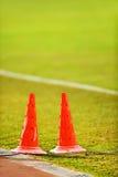 Piłka nożna markiera rożki dla trenować Obraz Royalty Free