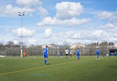 Piłka nożna mecz futbolowy na sztucznej trawie Zdjęcie Stock